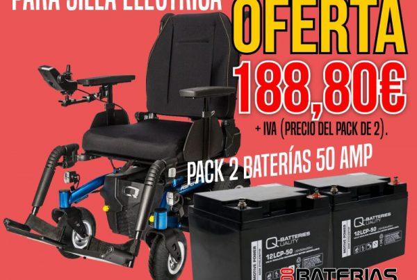 Pack 2 Baterías 50Ah para Silla de ruedas eléctrica - Oferta TodoBateriasLitio